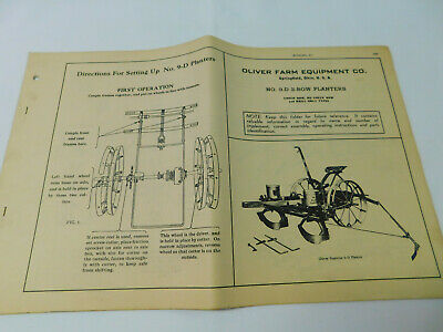 Vintage Oliver Superior 9-d 2-row Planters Operating Instructions Manual