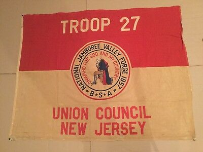 Boy Scout 1957 National Jamboree Troop Flag Union Council New Jersey 4'x5' Tr 27