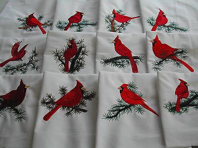 12 Machine Embroidered Cardinals Quilt Blocks