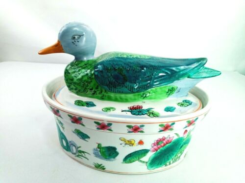 Duck Covered Soup Tureen Chinese Style Porcelain Pot Casserole High Gloss