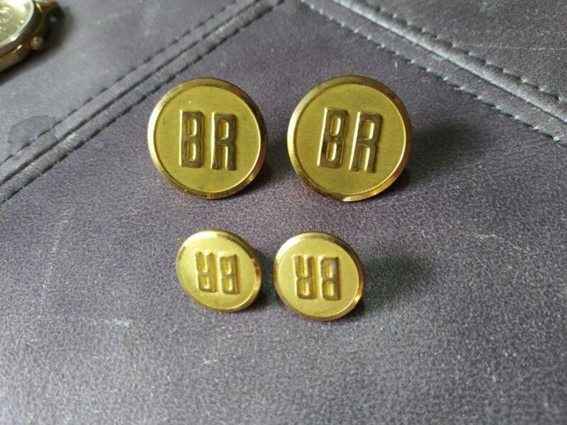 Lot of 4 Burlington Route BR Railroad Buttons Waterbury CO