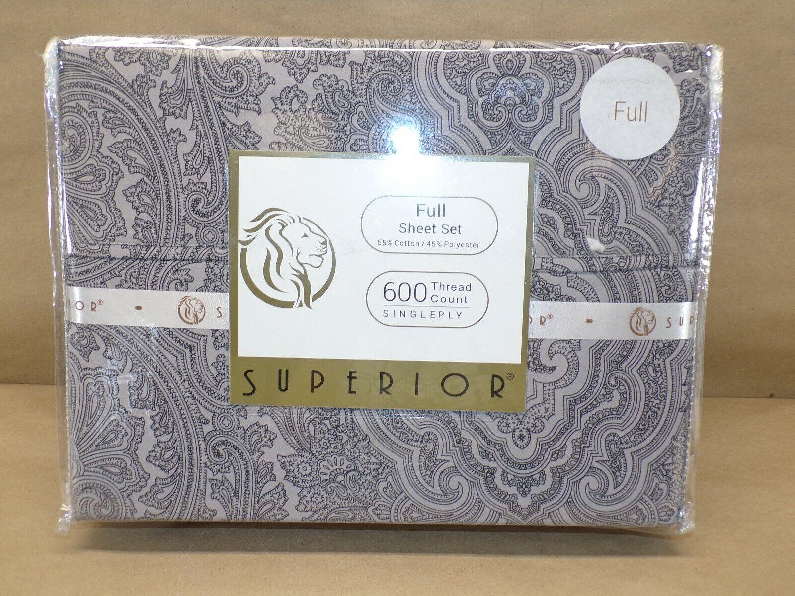 Superior Cotton Rich 600TC Italian Paisley Sheet Set Full Da