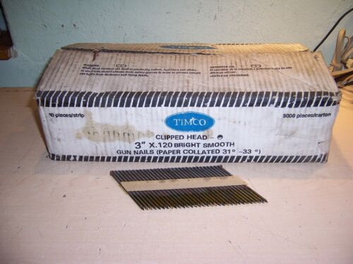 "TIMCO BRIGHT SMOOTH 3000 GUN NAILS 3""X .120 CLIPPED HEAD"