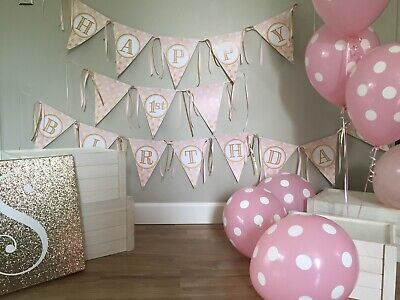 First Birthday Party Decorations PINK GOLD Photo Prop Banner Only Homemade