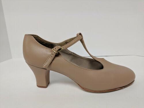 Capezio Jr. Footlight T-Strap Dance Shoe, Caramel, Womens 8.5 M