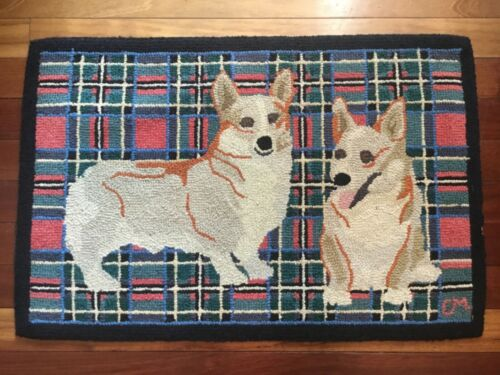 Vintage Claire Murray Hand Hooked Country Farmhouse Rug Welsh Corgi Dog Folk Art