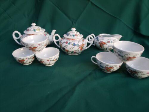 Vintage Jingdezhen Chinese Export Teapot Set Butterfly Pattern Porcelain Teacup
