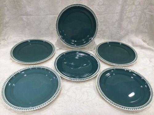"Set 6 Harker Ware Pottery Corinthian Green 9 1/4"" Luncheon Salad Lunch Plate"