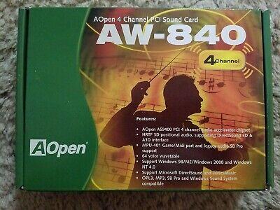 Brand New AOpen AW-840 4 Channel PCI Sound Card w/ CD Original Box