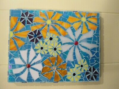 Piece Made Floral Mosaic Wall Hanging / Stained Glass