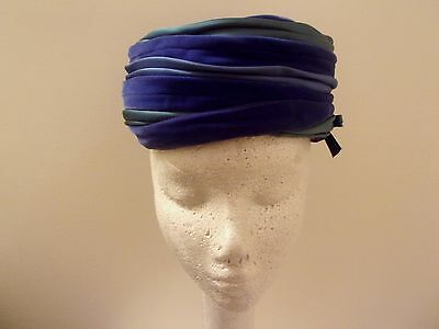 Melinda Original Vintage Hat Womens Pillbox Blue & Green Velvet Church Dress