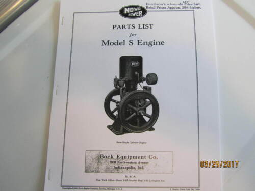 Novo Model S Gas Engine Parts  Catalog No 333-S Manual engine carts pulley