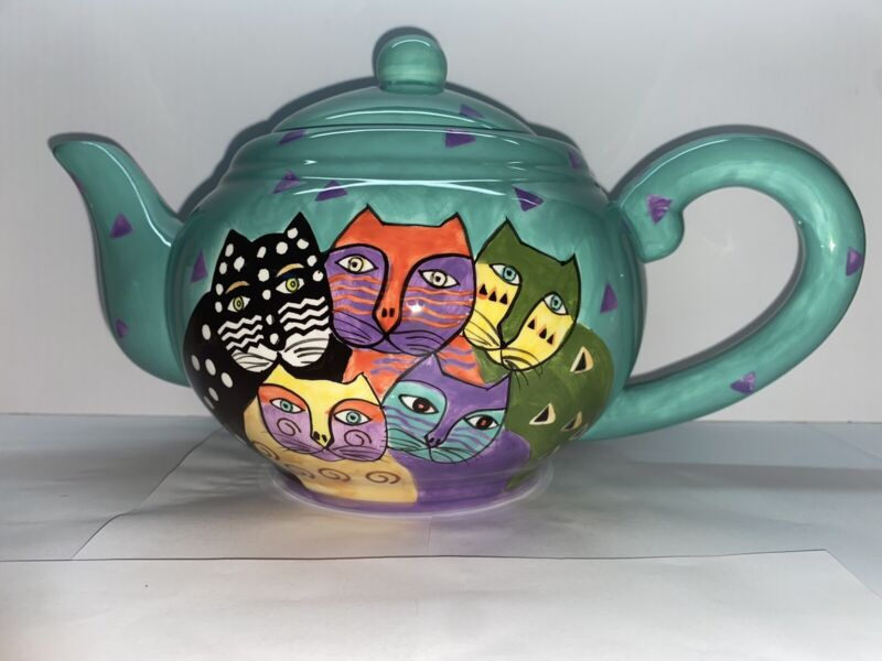 Vintage 1998 Laurel Burch Turquoise Teapot with 5 Whimsical cats