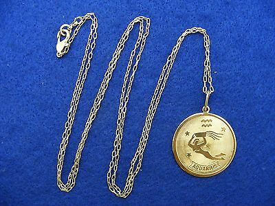 28 Nordstrom Aquarius Horoscope Sign Zodiac Pendant Necklace Goldtone 36  Long