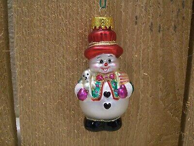 Blown Glass Snowman Christmas Ornament Hand Painted Glass Ornament 3 1/4