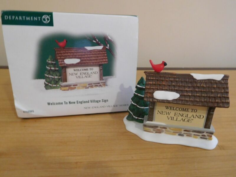 Dept 56 New England Village - Welcome To New England Village Sign -NIB Free Ship