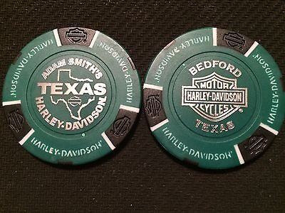 "For sale Harley Poker Chip Golf Marker(Green/Black) ""Adam Smith's Texas"" Bedford CLOSED"