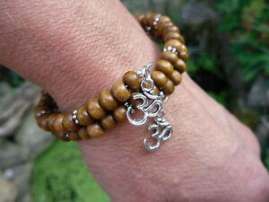 OM Brown Wood Bead Wrap Bracelet Aum Ohm Yoga Mantra Meditation Namaste