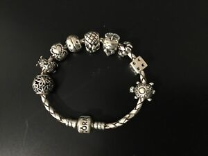 Pandora leather bracelet with 9 charms