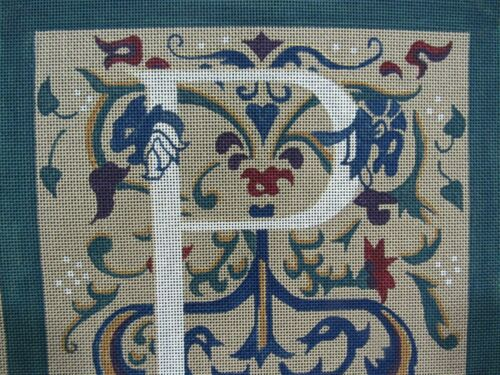 Hand Painted Needlepoint Canvas - Renaissance P Monogram by ANIE Jacobean Style