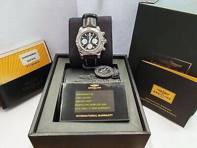 Breitling Chronomat 44 AB0110 Blue Dial Chronograph Full Set Box & Papers