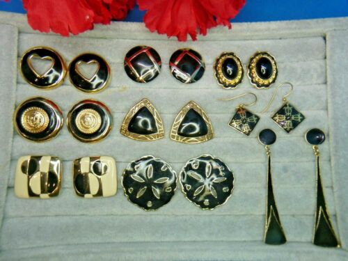 Gold Black Cream Enamel High End Pierced Earring Lot Liz Claiborne LCI Post