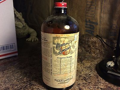 Vintage Wright's Condensed Smoke Glass Bottle