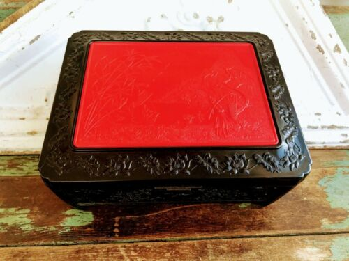 Vintage Asian Plastic Large Jewelry Box Red Black