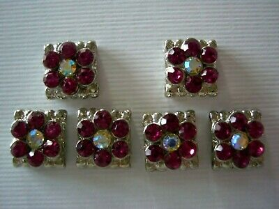 - 2 Hole Slider Beads Daisy Square Hot Pink/AB Made With Swarovski  Elements #6