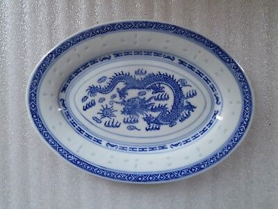 Vintage Chinese Rice Eyes Blue and White Porcelain Dragon Pattern 9