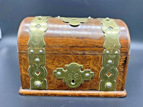 Antique Vintage Collectible Hand Curved Chinese Wood&Brass Jewelry Trinket Box