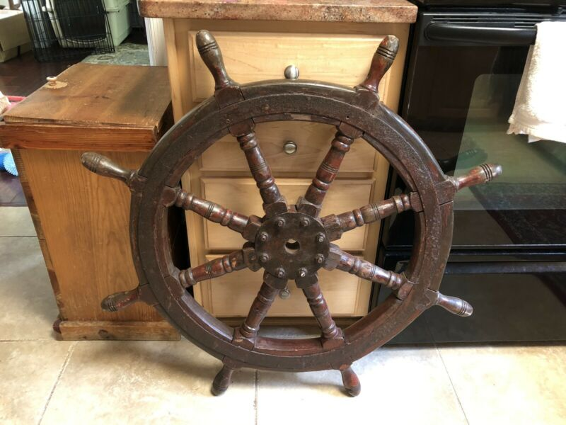 Antique German Ships Wheel Iron Wood Nautical Boat Local Pick Up Only