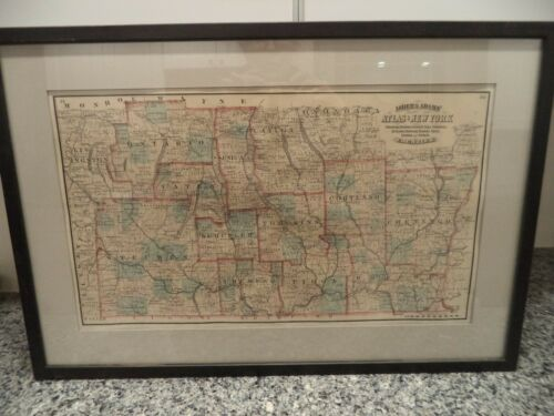 Asher and Adams Atlas of New York Counties Chenango Broome Cortland Seneca Tioga