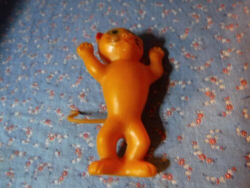 "Cute Vintage Halloween Ornament  Decor Orange Cat Plastic  5 1/4"" High with Loop"