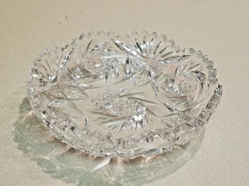 Vintage Crystal Cut Glass Pinwheel Star Sawtooth Candy/Nut Dish