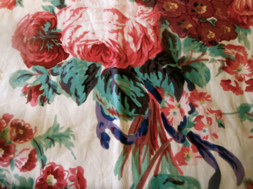 Vintage Cabbage Roses Floral Polished Cotton Fabric ~Rose Red Gold Amethyst