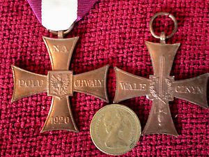 Replica Copy WW2 Polish Cross of Valour medal  full size moulded from original