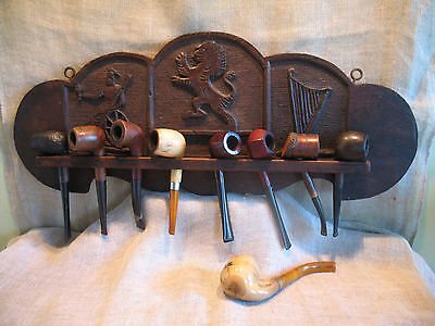 ANTIQUE CARVED OAK PIPE STAND RACK x 8 PIPES BRITANNIA HARP RAMPANT LION