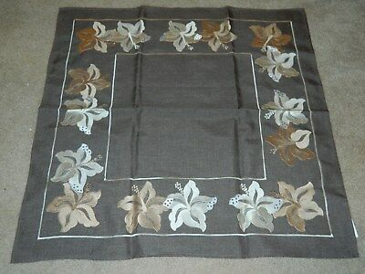 ELEGANT NWT ATELIER COLLECTION CHOCOLATE BROWN EMBROIDERED TABLECLOTH