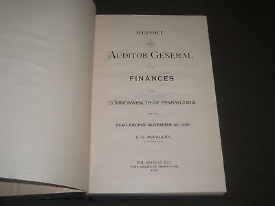 1899 Auditor General Finance Report Of Pennsylvania For 1898 Book   Kd 4212