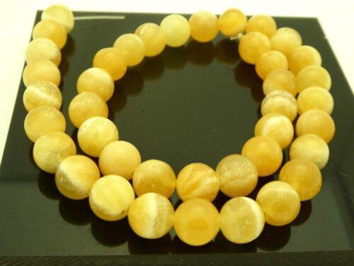 """Natural Yellow Calcite 10mm Round Smooth Gemstone Beads Strand 15.5"""" Bargain"""