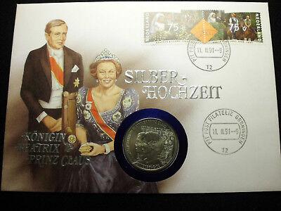Numisbrief Niederlande Silberhochzeit 1991 2,5 ECU Münze Sammlung Lot