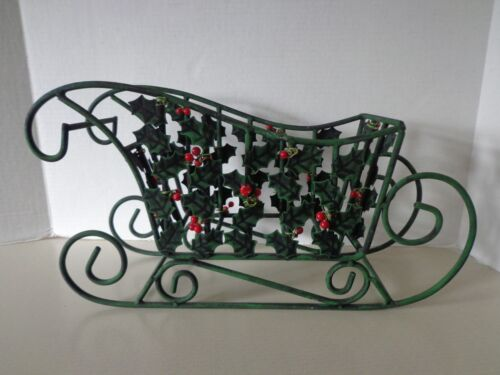 """Vintage Wrought Iron Christmas Sleigh Sled Decoration 15.5"""" Long"""