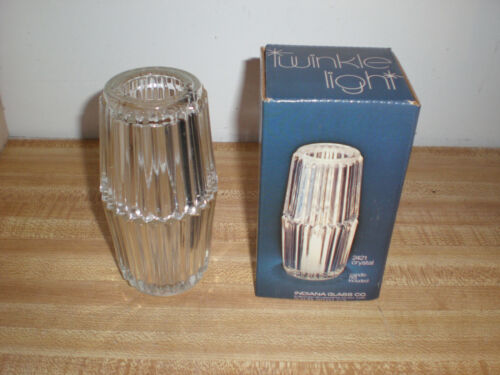 Vintage Indiana Glass Clear Diamond Fairy Lamp Twinkle Light Candle Holder New