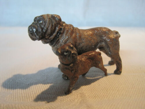 Vintage cold painted metal Bulldog & Bulldog puppy figurine marked Germany