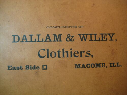 Antique Victorian Advertising Trade Card - Dallam & Wiley Clothiers - Macomb ILL