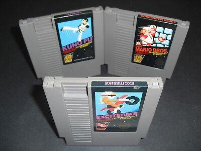 Excitebike, Super Mario Bros & Kung Fu 5 Screw in VG COND NES Nintendo Authentic