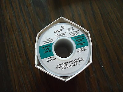KESTER NEW ONE POUND LEAD FREE SOLDERS WIRE SN96.5AG03CU.5 #58/275 .50mm(.020)2