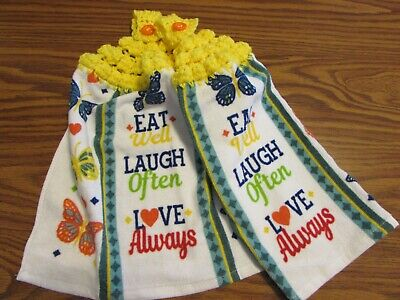 Hanging Kitchen Dish Towels with Crochet Tops Towel Set Eat Laugh Love -