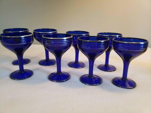 4 Vintage Nick and Nora Cobalt Blue Silver-trimmed Champagne or Sherbert Glasses